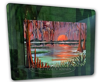 Orange Sunset Bayou Swamp Scene Stacked Metal Print from Original Art