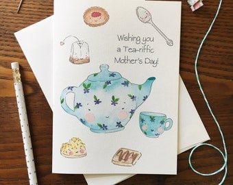 Mother's Day Card. Teapot Card. Food Pun Card. Tea cup card. For Grandma. Card for Mom. Blank Card. Tea Set Card. Kawaii tea set. Tea Time