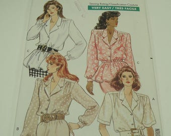 Butterick Fast & Easy Misses' Blouse Pattern 6608 Size 8, 10, 12 Very Easy