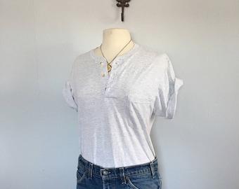 Vintage grey pocket tshirt Heather grey Henley tee