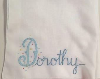 Vintage White Hanky with Dorothy Appliqued in One Corner - Hankie Handkerchief