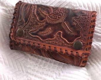 Vintage Genuine Steerhide Tooled Leather Key Wallet with Keys Included