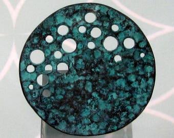 Mykonos Casting, Round Moonscape Pendant, Green Patina, 35 MM, M522