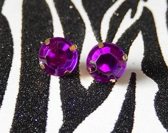 Round Purple Jewel Earrings, Acrylic Violet Studs, Rhinestone Gem Posts