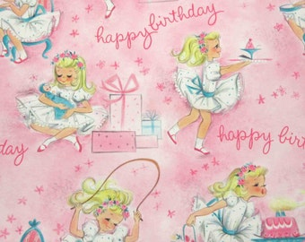 Vintage 1950s or 1960s Pink Juvenile Birthday Wrapping Paper Gift Wrap with Adorable Girl Birthday Cake Gifts Ice Cream Doll by Hallmark