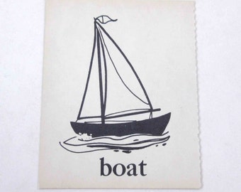 Vintage Children's Ivory School Flash Card with Picture and Word for Boat