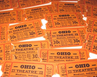 Vintage Ohio Theatre Tickets Madison Indiana Never Used Set of 22