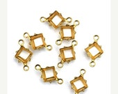 50% Off Sale Prong Settings Square Raw Brass 6mm Open Back 2 Ring (12) FI788