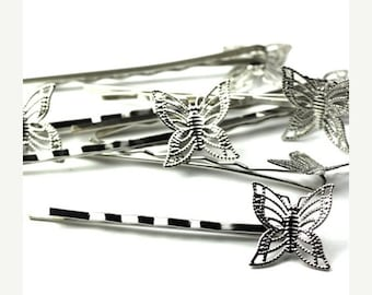 50% OFF SALE Filigree Bobby Pins 17mm Butterfly Pad Silver Tone (8) FI554