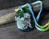 RESERVED for SHARON Amazing baby polar bear in the water - Fused glass pendant - swimming polar bear