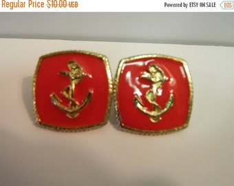 On Sale Vintage 1980's Red Anchor Post earrings, July 4th, Nautical Red & Gold Earrings, Summer Fashion