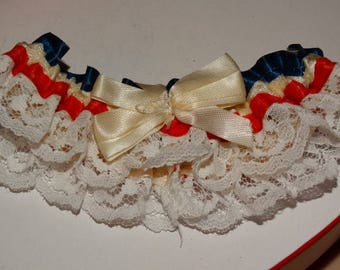 Vintage Patriotic Red White & Blue Garter Wedding Accessory Bridal Garter Patriotic Wedding Brides Garter Ribbon Lace