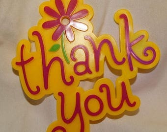Cake Topper, Thank you Cake Topper / Yellow & Red Cake Topper/ Thanks, Plastic Thank you Cake Topper, Birthday Party Decoration