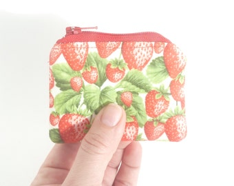 tiny cute zipper pouch. strawberry fabric hearing aid pouch. pill pouch. crochet knit stitch marker pouch. d ring. tween girl party favor