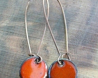 Dangle Earrings, Orange Copper Enamel Drop Earrings, Enamel Jewelry, Bridal Jewelry, Nickel Free Kidney Ear wires, Persimmon Orange
