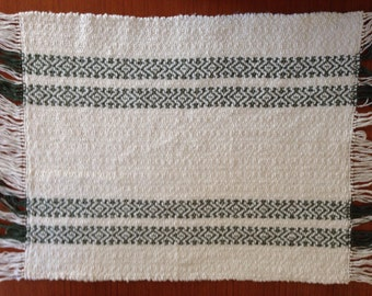 Handwoven placemats in natural cotton with dark green stripes, set of 4