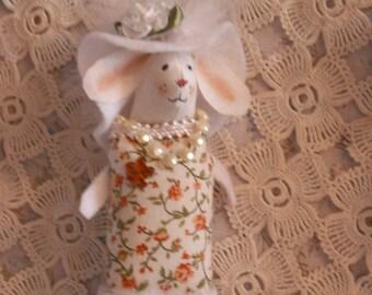 Fabric Bunny  Doll- Brooch/Pin- Easter Rabbit - Fiber Art