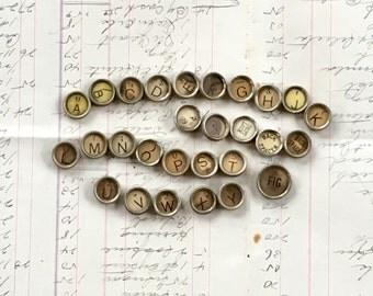 Typewriter Keys Set of 28 Vintage Antique Jewelry Supply Letters,