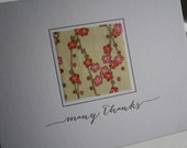 Letterpress Thank You Notes with Japanese Paper - Cherry Blossoms
