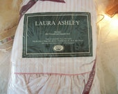 vintage laura ashley pink and white 'ticking stripe' standard size ruffled pillow case pair, new old stock, new in package, feminine charm