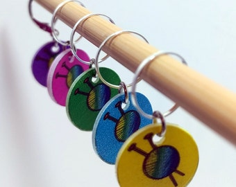I Knit So I Don't Kill People - Set of 5 Stitchmarkers for Knitters and Crocheters