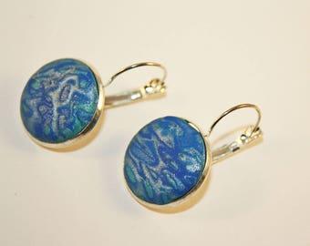 Blue Mokume Gane Earrings