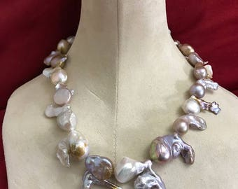 Fireball pearl necklace baroque LARGE pearls silver toggle chunky UNIQUE