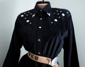 Vintage 1980s Sassa RHINESTONE and FRINGE Country Western Rodeo Queen Black DRESS 50s Rockabilly Pin Up Girl Westworld Cowgirl Medium