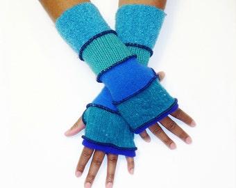 Fingerless Gloves, Armwarmers, Patchwork Gloves(Royal Blue/Dk.Cyan/Blue/Cyan/Aqua) by Brenda Abdullah