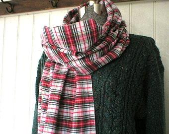"SALE Plaid tartan flannel twill scarf, selvedge long scarf 72""- Stewart Scotch - eco vintage fabric"