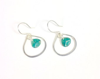 Silver and Teal Teardrop Earrings, Silver Earrings, Teal Earrings, Small Earrings