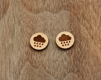 8 pcs Cloud Rain Wood Charm, Carved, Engraved, Earring Supplies, Cabochons (WC 128)