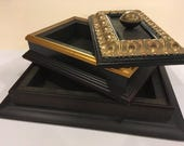 Large Decorative Box - Made with Silver Picture Frame Mouldings - Two Compartments