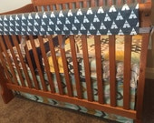 Bear Country Navy Gold Mint and Gray 3 Piece Blanket and Baby Crib Set Bedding MADE TO ORDER Free Shipping