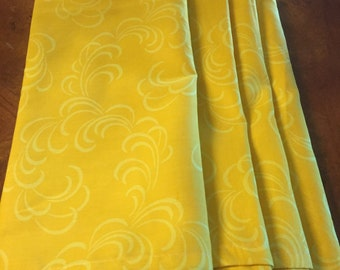Set of 4 Marigold Scroll Cotton Cloth Napkins