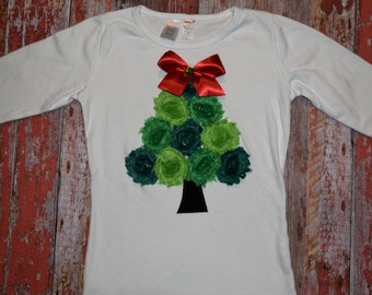 """Custom  Girls Christmas shabby rose tree """"O CHRISTmAS TReE"""" collection tee shirt red or white sizes 6-12-18-24 mth 2T 3/4 - 5/6 - 7/8 - 9/10"""