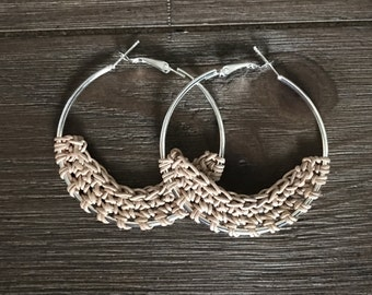 Crocheted Leather Hoop Earrings - Peach (small)