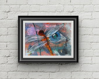 Look Closer - Giclee Fine Art Print Mixed Media Dragonfly Painting