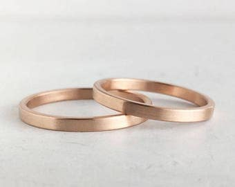 Brushed Finish Rose Gold Wedding Band Set | 2mm and 2mm x 1.3mm rose gold rings | Rustic wedding bands 10k 14k 18k rose gold