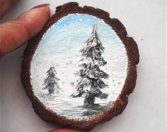 """Mini Oil Painting Little Trees on Wood Slice 2.5"""" READY TO SHIP"""