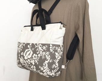 4 WAYS bag / Tote / Cross Body / Shoulder / Backpack - Ivory Floral in Grey