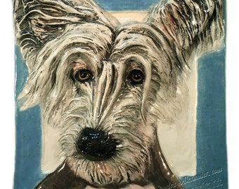 Ceramic Chinese Crested 3-d tile by Sondra Alexander  Great Price