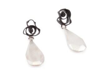 Scribble Drop Earrings in Black Powdercoated Brass and Cast Sterling Silver