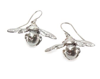 Carpenter Bee Dangle Earrings in Sterling Silver