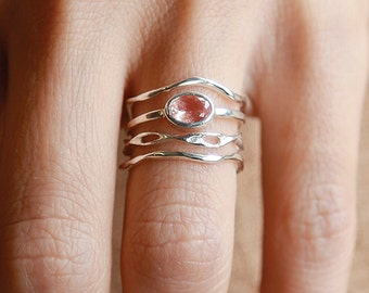 Silver Sunstone Explorer Set  | Stering Silver Ring Set |  Nature Inspired Rings