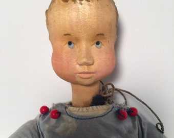 Hand Carved German Doll made by Anna Fehrle Boy with Whistle VERY RARE Wooden Head Cloth Body