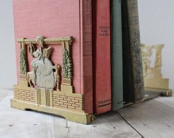 Antique Cast Iron Expandable Judd Book Rack Original Paint / Victorian Woman Reading with Dogs / 1920s Folding Metal Bookends Shelf Desktop