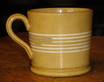 Yellow Ware Mug | 6 Ring Yellow Ware Mug | Yellow Ware Coffee Mug Banded