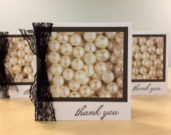 Thank You Bead Beads Gift Cards Set of Six 6 Lace Office Teacher Coworker Jewels Jewelry Maker Designer Etsy Shop Necklace Bracelet Design
