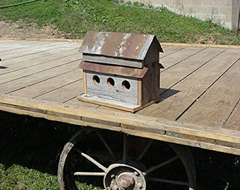 Amish Made Three Hole Birdhouse Handmade from Barnwood